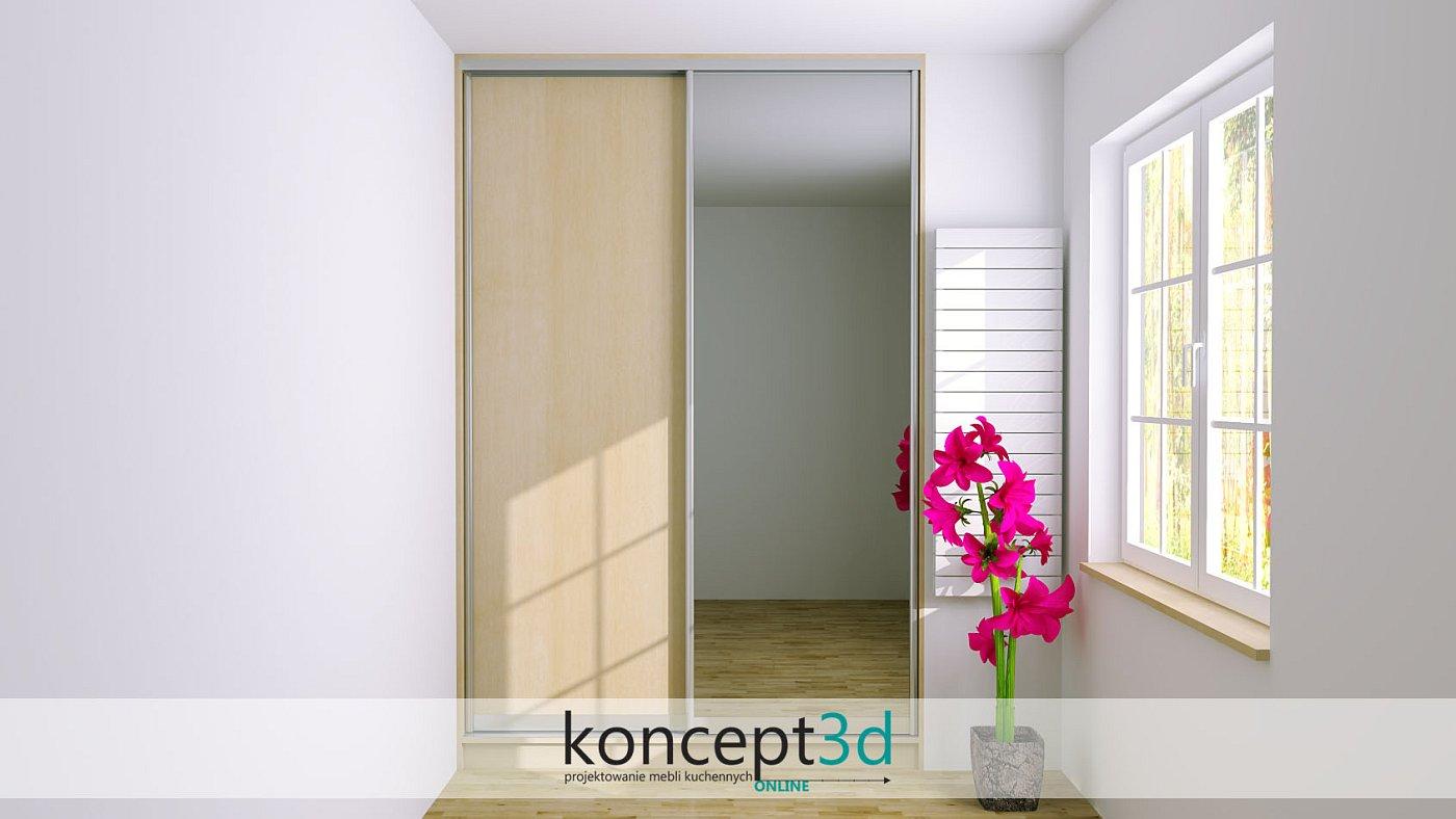 Dwoje drzwi przesuwnych, jedne lustrzane a drugie pełne z płyty | koncept3d projekty kuchni