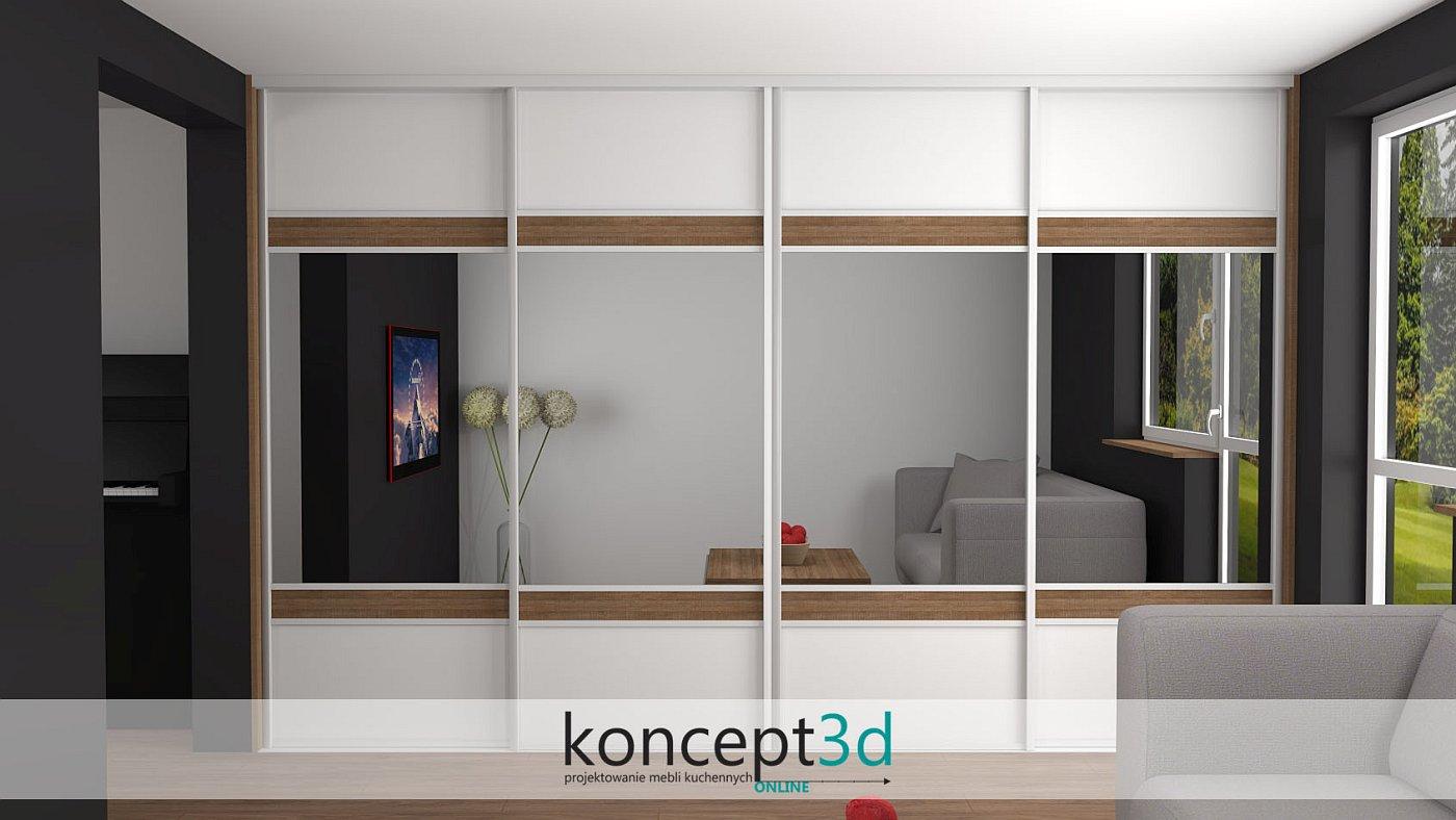 Duża szafa i 4 drzwi przesuwne w salonie wyglądają obłędnie. Całość na białych profilach aluminiowych | koncept3d