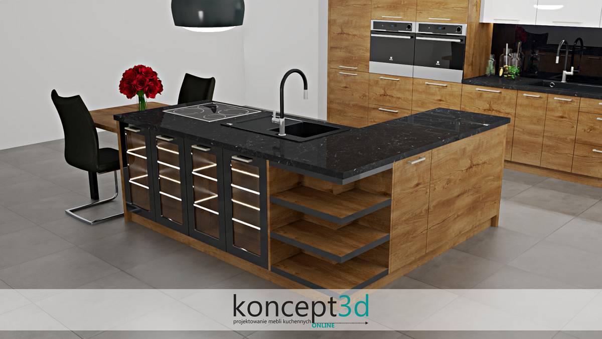 Kuchnia z wyspą w dużej odsłonie i z czarnym blatem | koncept3d projekty kuchni