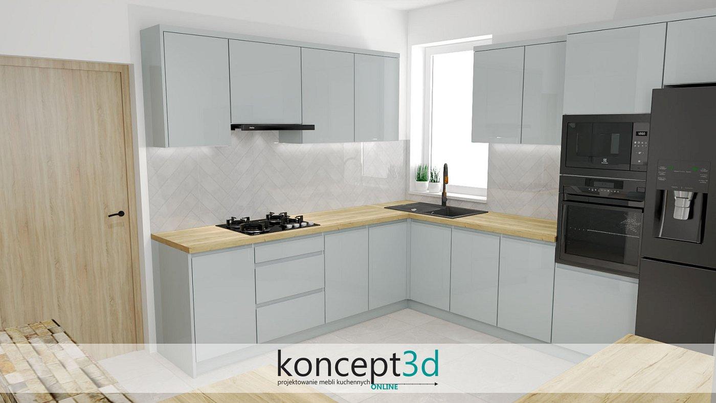 Jasno szara kuchnia z jasnym drewnianym blatem   koncept3d projekty kuchni