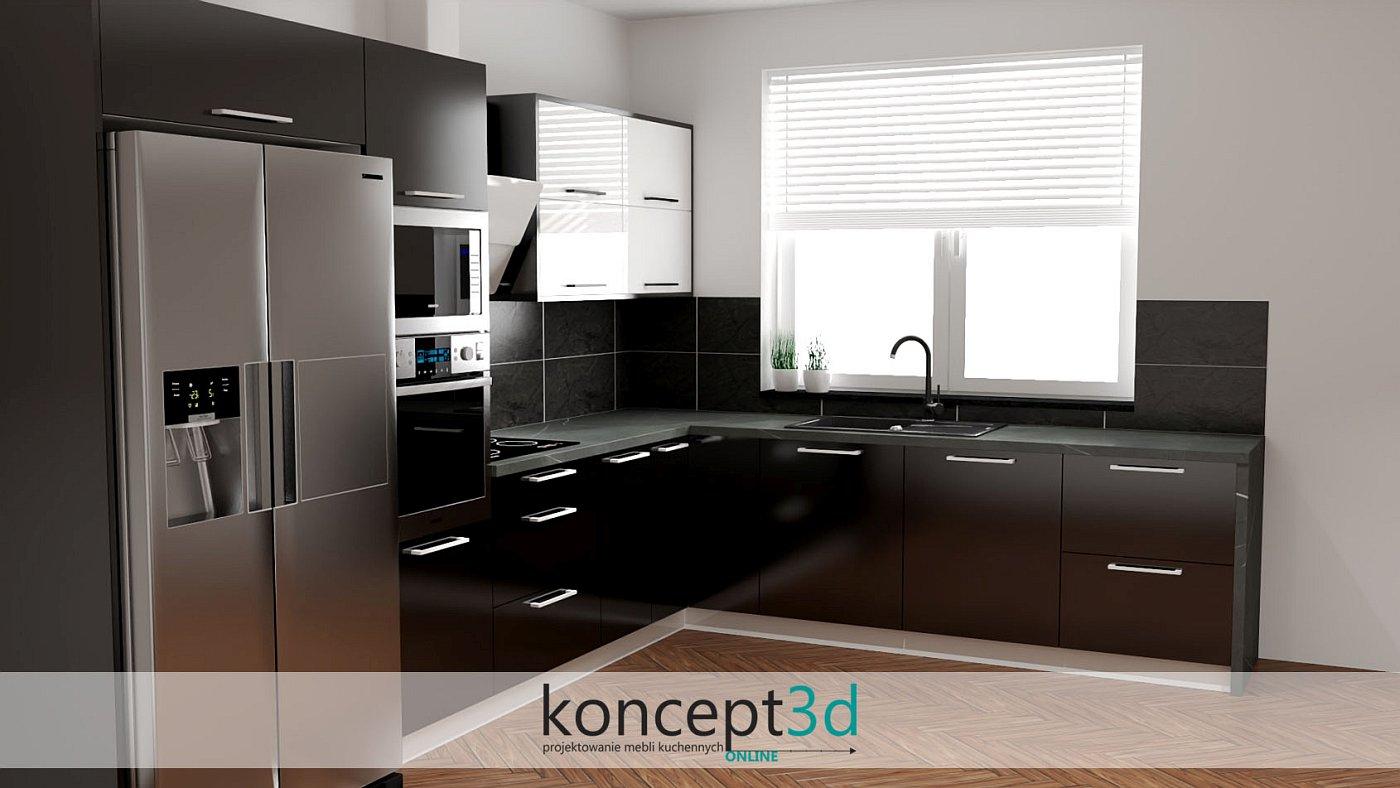 Kuchnia czarno biała połysk | koncept3d projekty kuchni