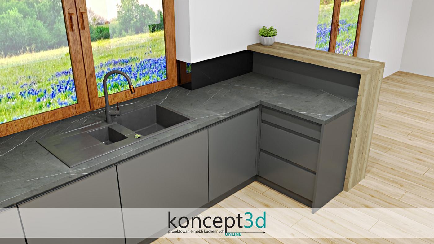 Wizualizacja szarej kuchni z ciemnym blatem i drewnianą ladą