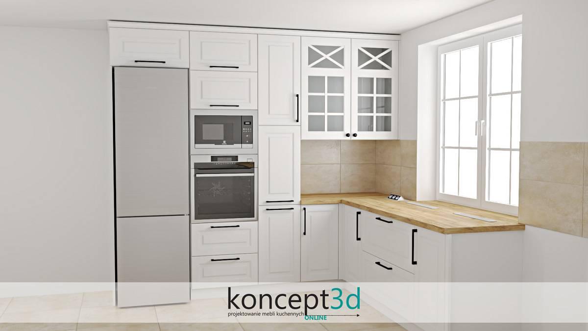 Białe klasyczne kuchnie z drewnianym blatem i płytkami na ścianie   inspiracje kuchenne koncept3d Warszawa