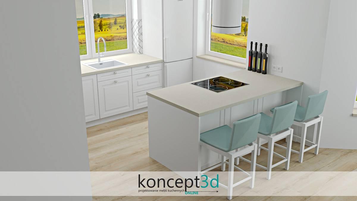 Wizualizacja mebli kuchennych z płytą indukcyjną na półwyspie | koncept3d wadowice