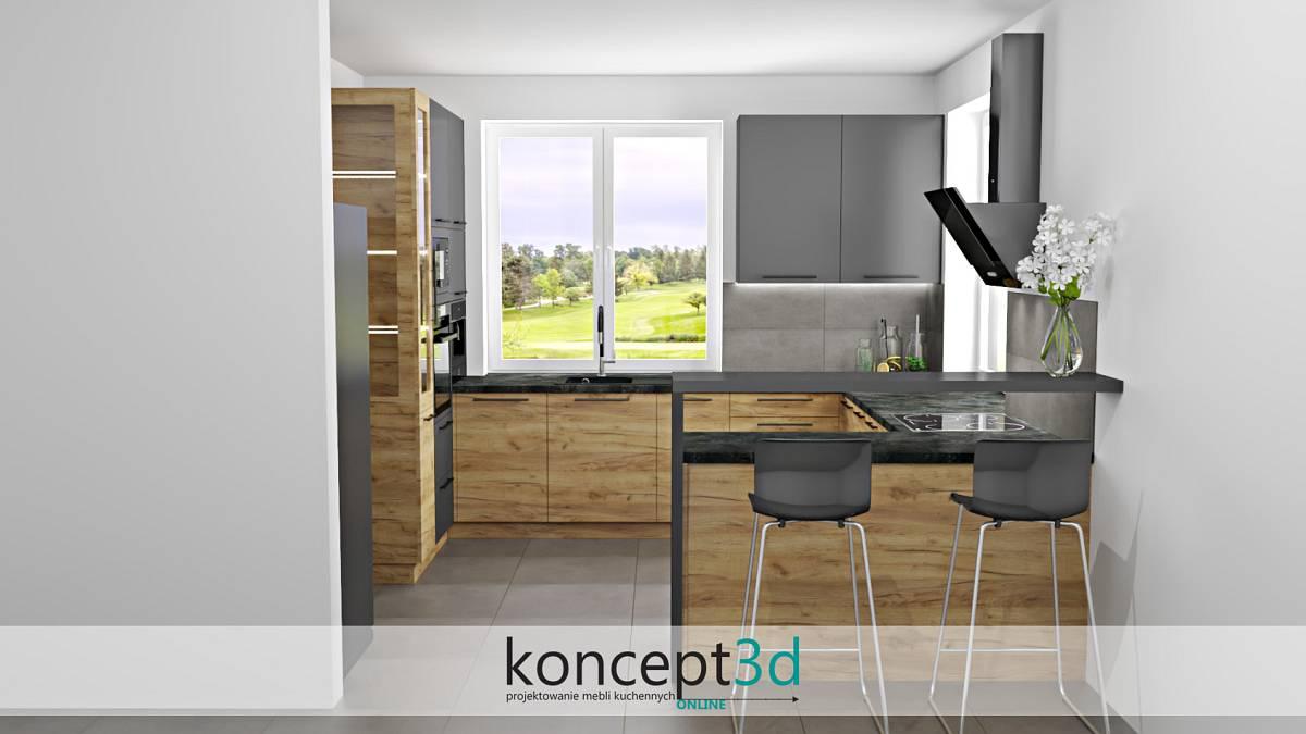 Kuchnia z półwyspem i szklaną witrynką z lewej strony | koncept3d
