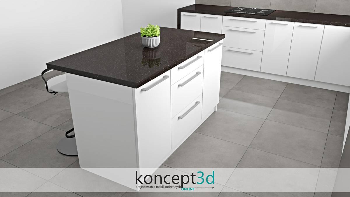 Wyspa w kuchni z czarnym blatem i białymi szafkami | koncept3d projekty kuchni