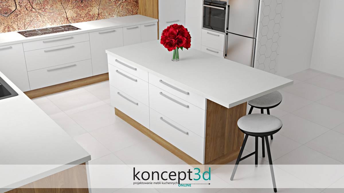 Ciekawy projekt wyspy w białej kuchni z białym blatem