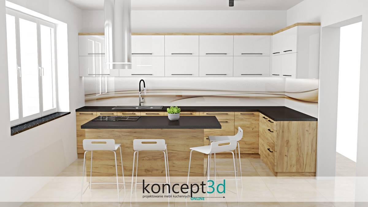 Kuchnia z wyspą i ciekawa jej aranżacja w drewnianym kolorze | koncept3d projekty kuchni