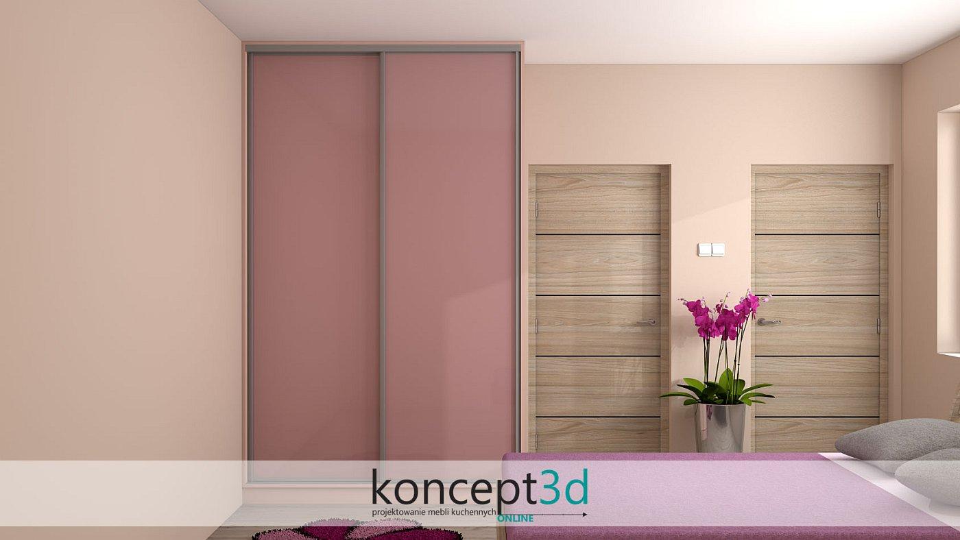 Różowe drzwi suwane w pokoju dziewczynki