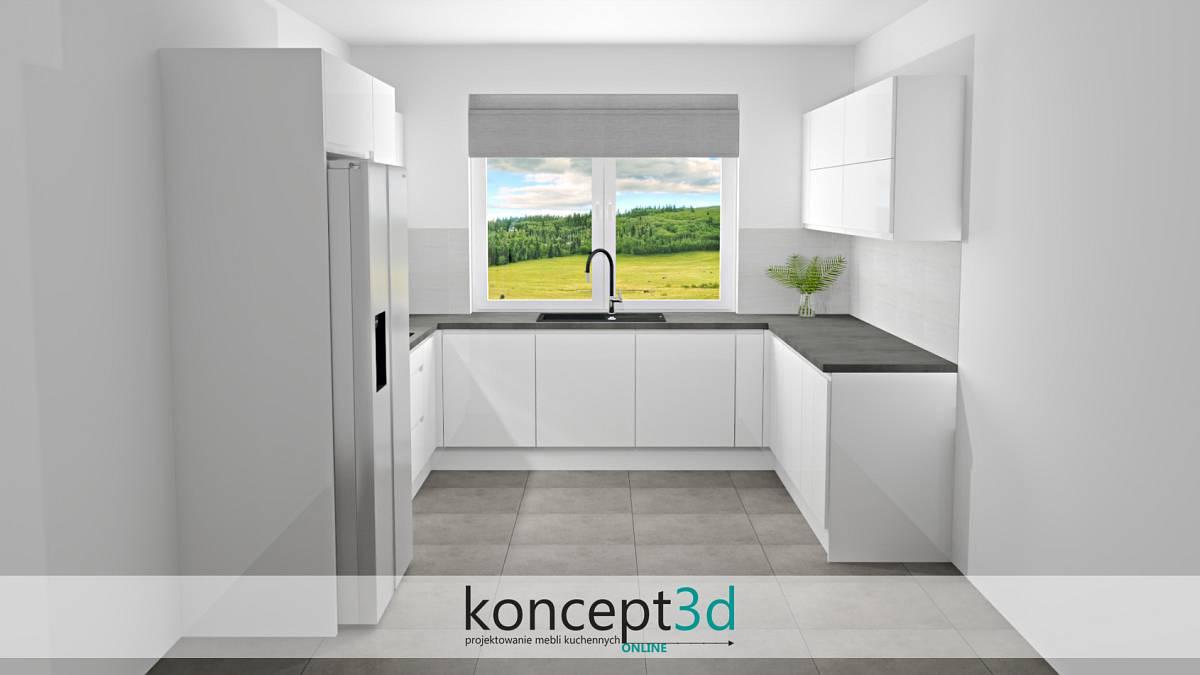 Biała kuchnia lakierowana na wysoki połysk z szarym blatem   koncept3d projekty kuchni