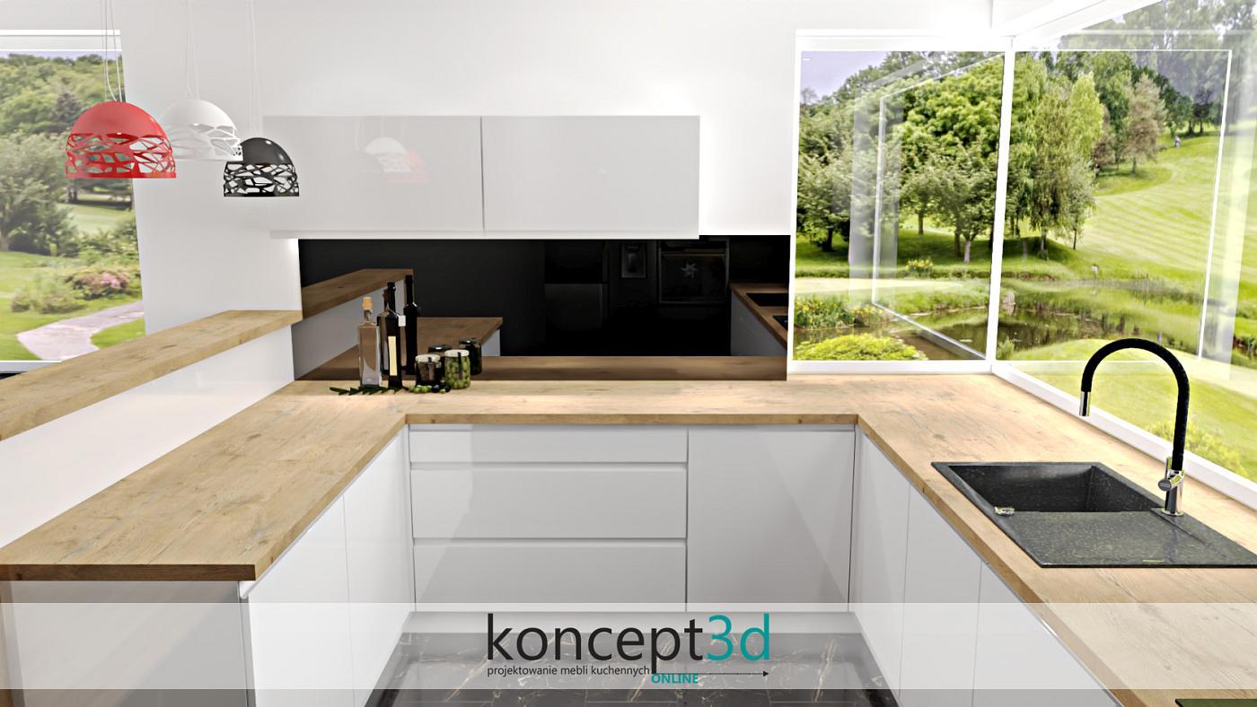 Nowoczesna kuchnia z niskimi wiszącymi szafkami | koncept3d projekty kuchni
