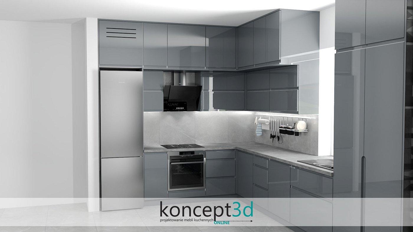 Kuchnia lakierowana na ciemny szary połysk z betonowym blatem   koncept3d projekty kuchni