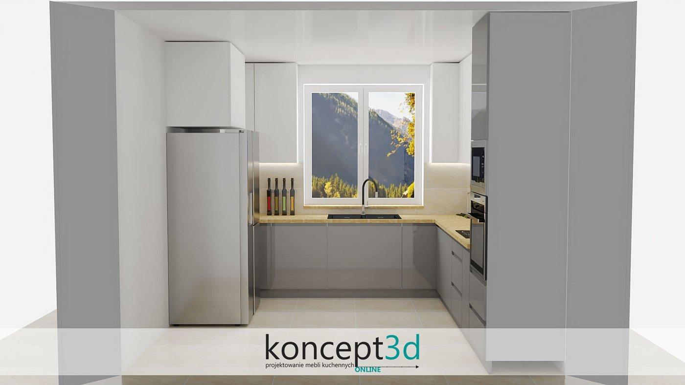 Szaro białe szafki z kamiennym piaskowym blatem   koncept3d projekty kuchni