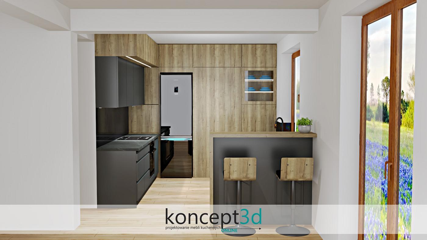 Drewno Halifax w ciemnoszarej kuchni   koncept3d projekty kuchni