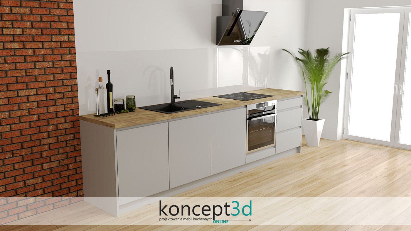 Szara kuchnia jako mały aneks kuchenny w biurze | koncept3d projekty kuchni