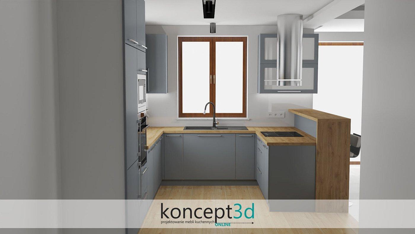 Drewniany blat i lada w szarej kuchni wyglądają bardzo elegancko   koncept3d projekty kuchni