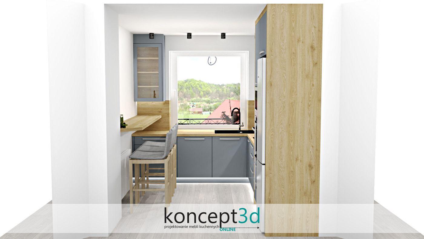 Jasne drewno w szarej kuchni z dużym oknem   koncept3d projekty kuchni