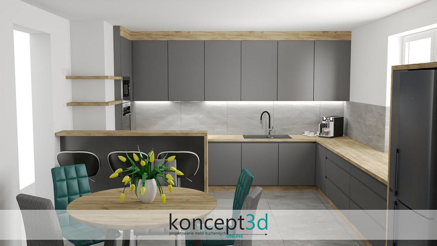 Dąb złoty z szarym to ciekawe połączenie   koncept3d projekty kuchni