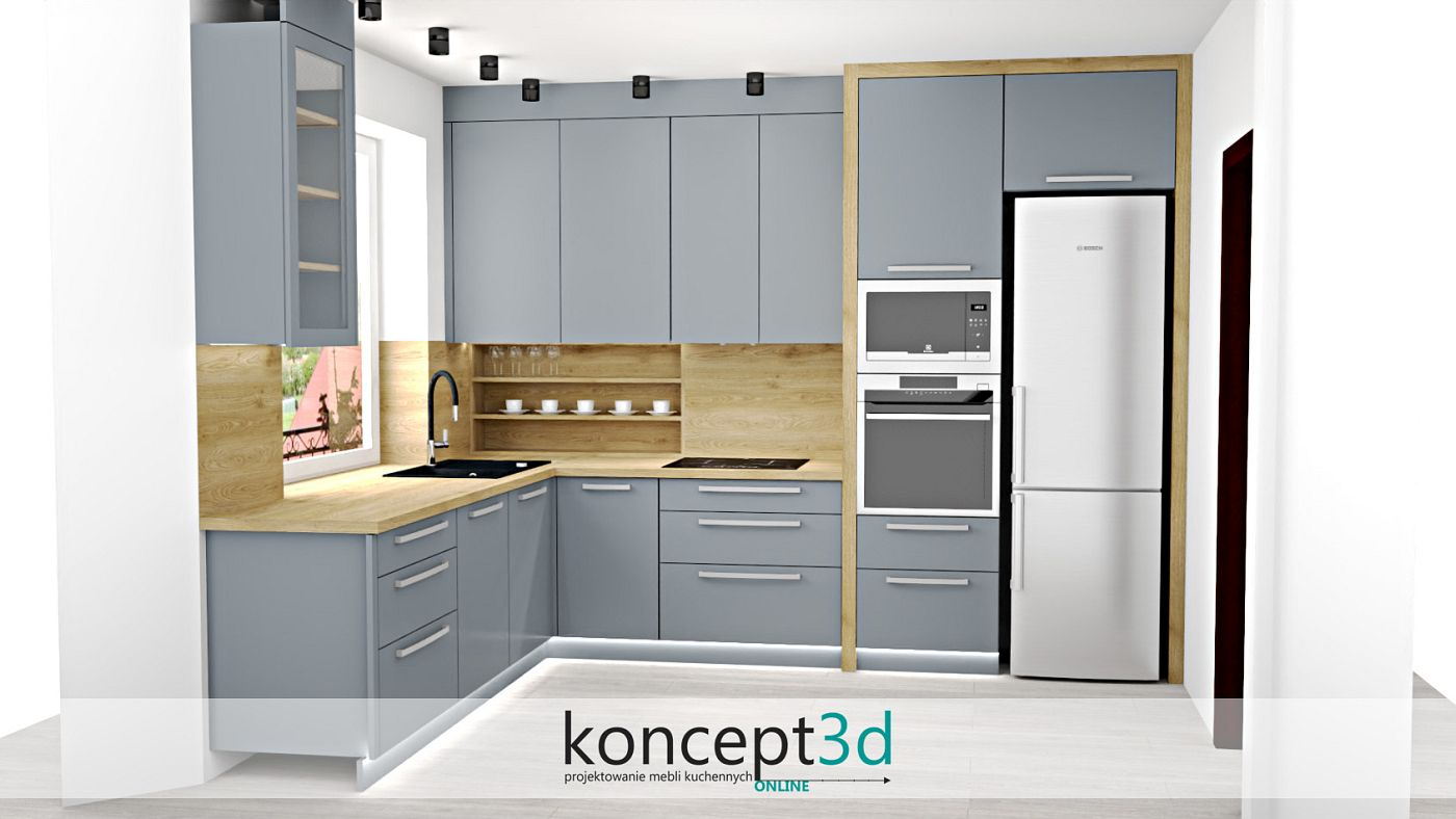 Jasno szara kuchnia z drewnem i otwartymi półkami nad blatem   koncept3d projekty kuchni