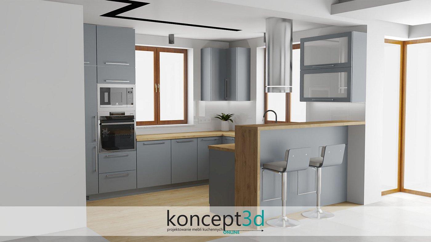 Wysokie hokery w meblach kuchennych to często pojawiający się motyw   koncept3d projekty kuchni