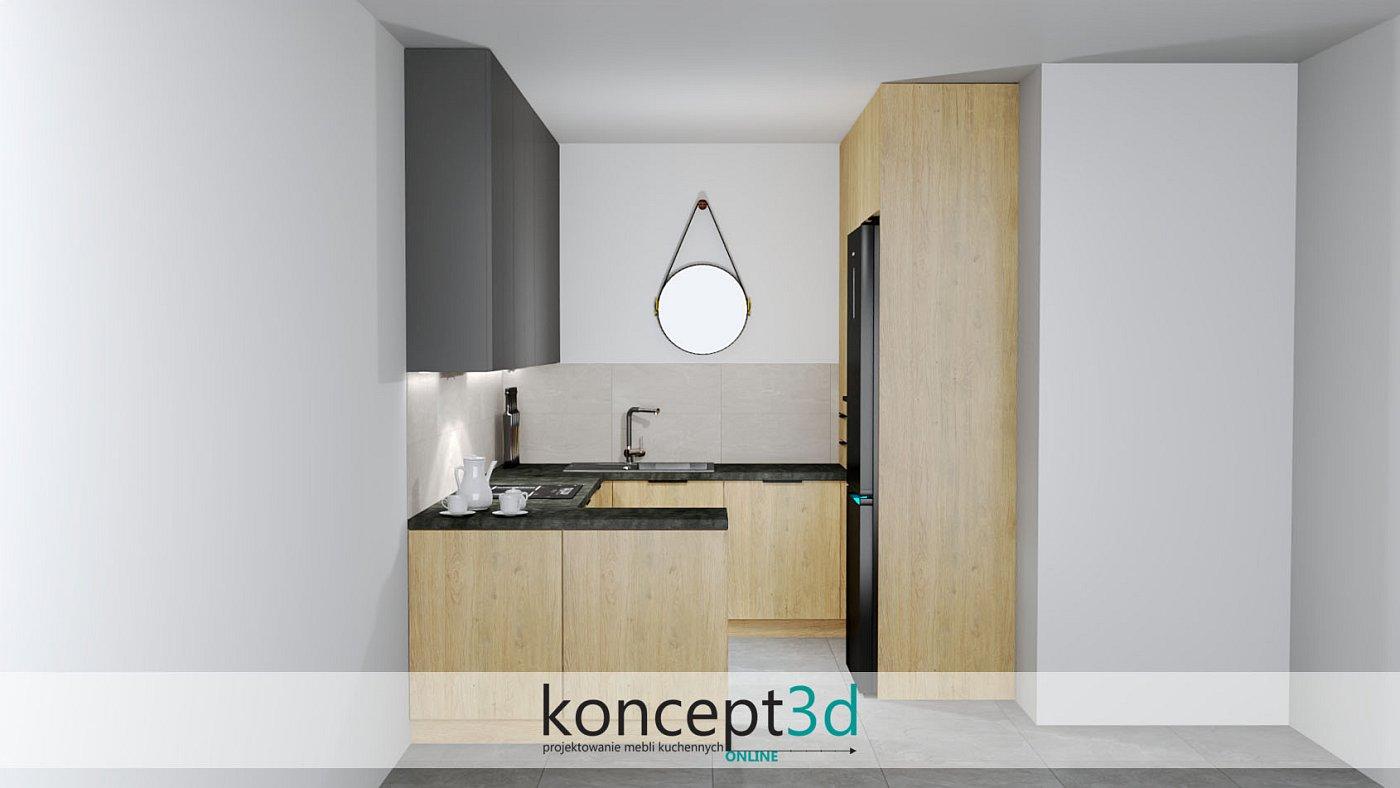 Dolne szafki wykonane w drewnie a górne z ciemno szarej płyty   koncept3d projekty kuchni
