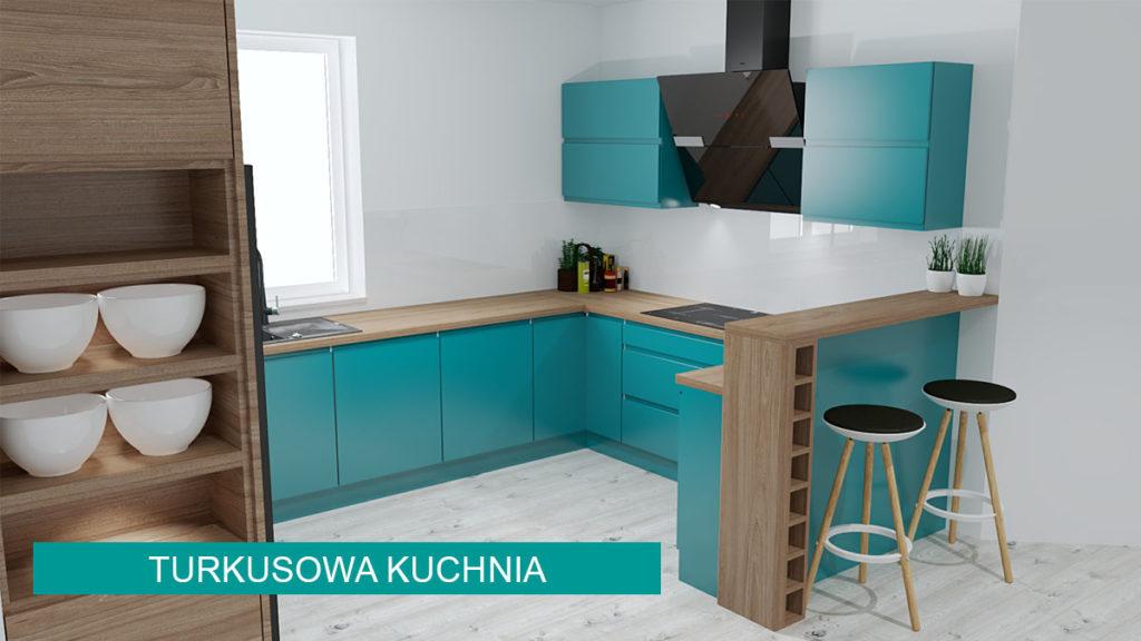 Turkusowa kuchnia | projekty kuchni koncept3d