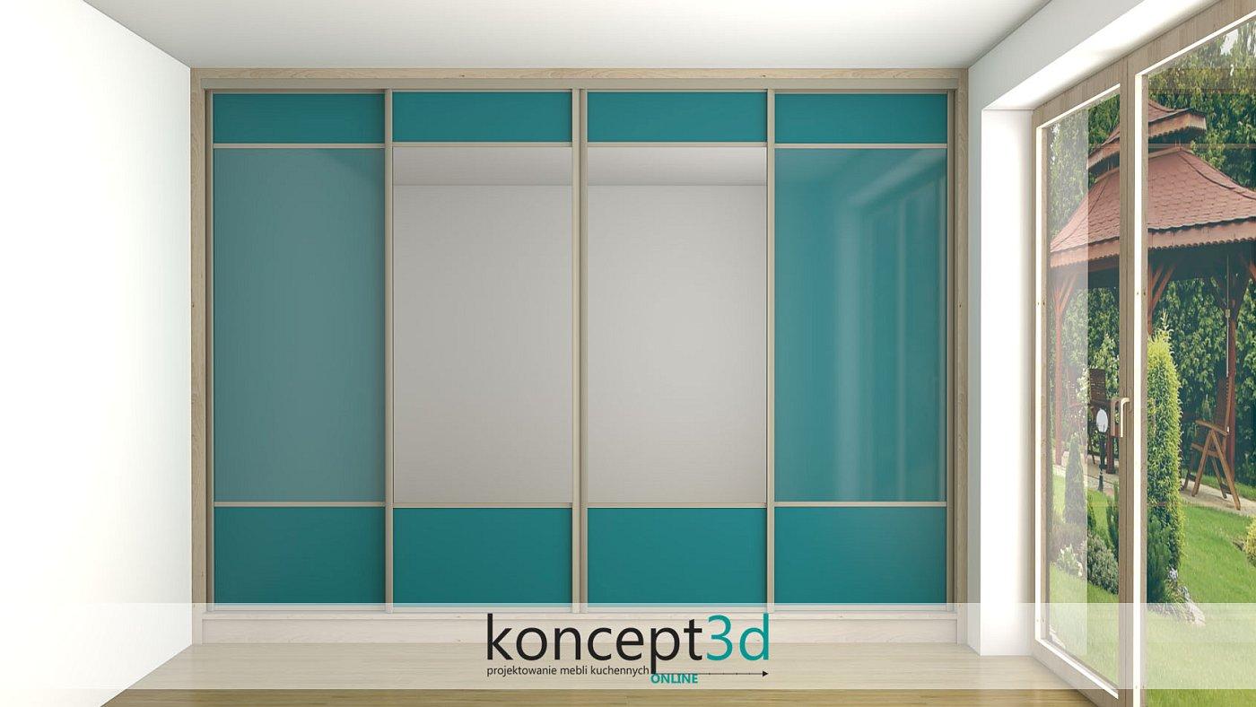 Turkusowe drzwi przesuwne w dużej szafie z drewnianą ramką. Okucia satynowe | koncept3d projekty kuchni