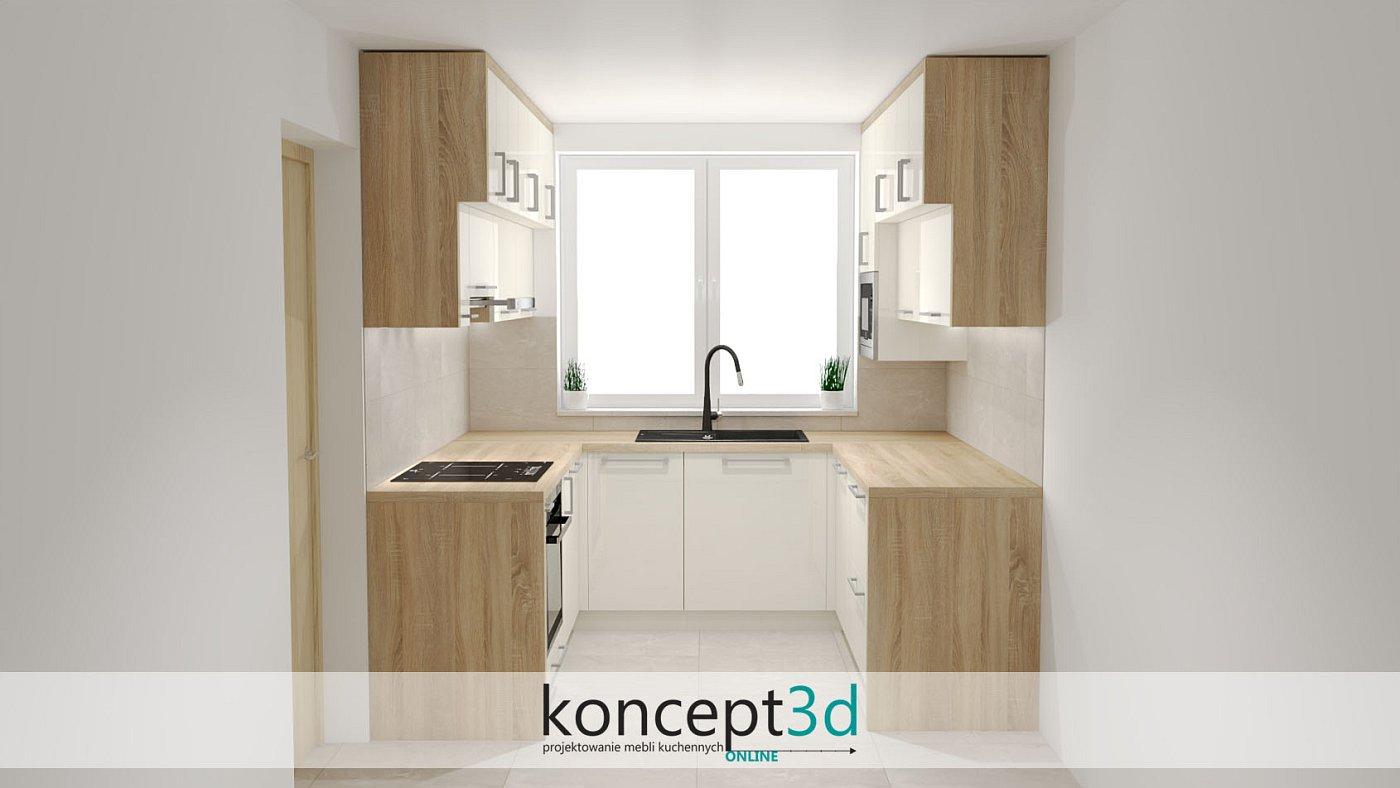 Kuchnia na trzech ścianach w kremowym kolorze z drewnem Sonoma | koncept3d projekty kuchni