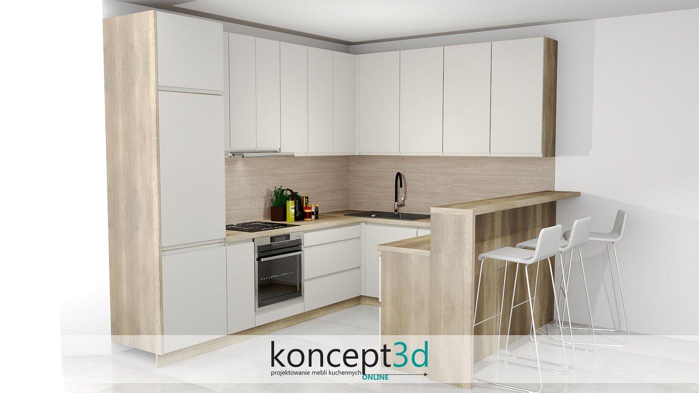 Kremowa kuchnia z półwyspem i drewnianymi bokami | koncept3d projekty kuchni