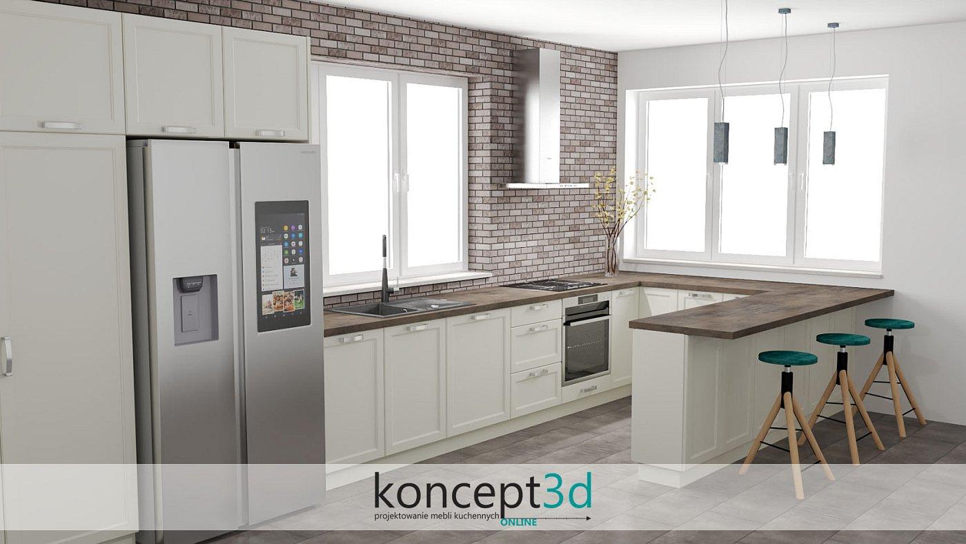 Aranżacja klasycznej kuchni z cegłą na ścianie | koncept3d projekty kuchni