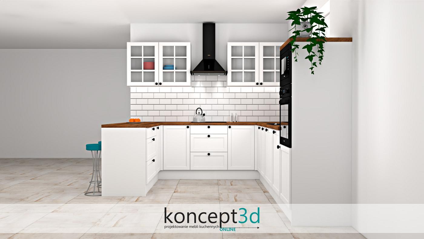 Fazowana cegła na ścianie w klasycznej kuchni z drewnem   koncept3d projekty wnętrz