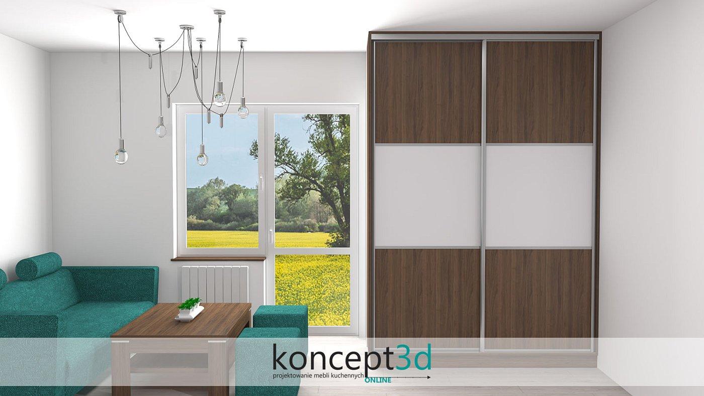 Szafa przesuwna w niewielkim salonie zawsze wygląda elegancko i praktycznie | koncept3d