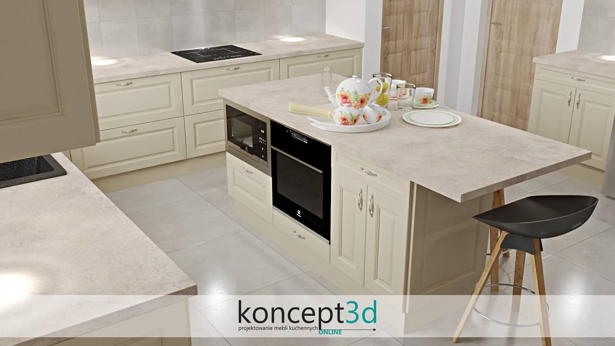 Wyspa kuchenna na środku kuchni w kremowym kolorze