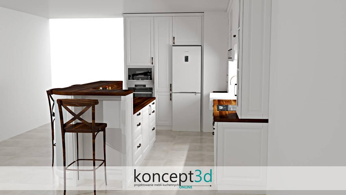 Kuchnia z wyspą i z wysokimi krzesłami | koncept3d projekty kuchni