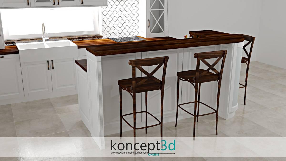 Drewniane wysokie krzesła w białej kuchni