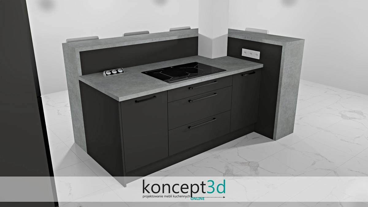Wysoka lada kuchenna z szarym blatem w kształcie litry L | koncept3d projekty kuchni