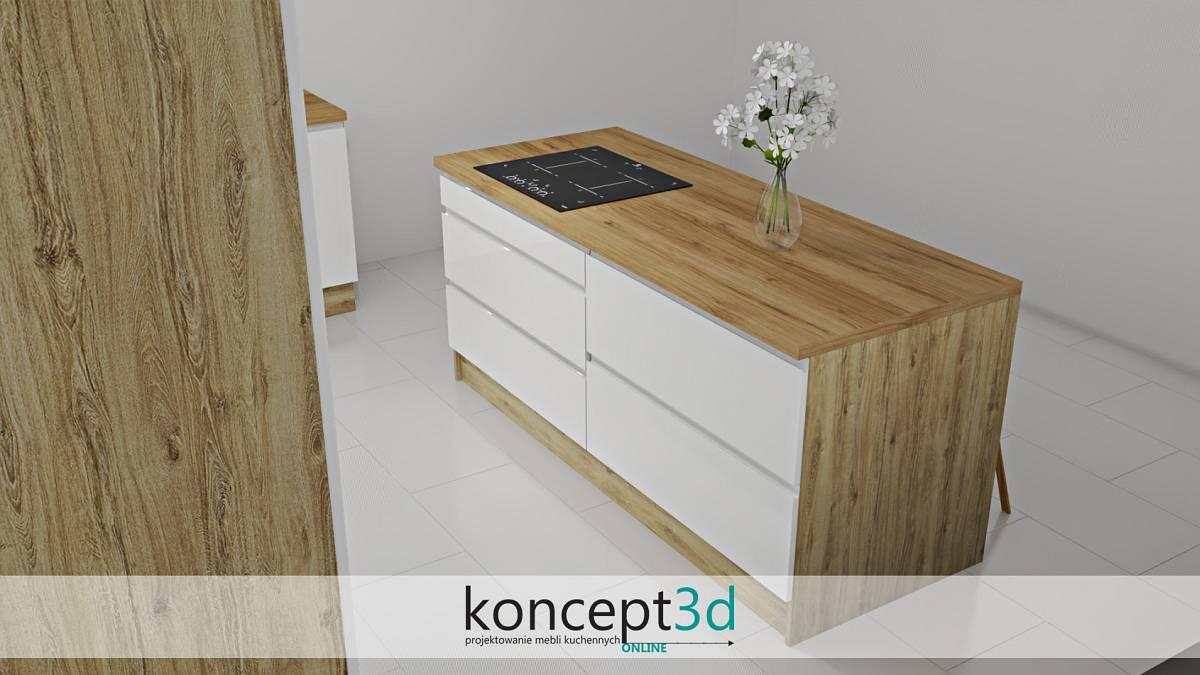 Duża wyspa z drewnianymi bokami i szufladami | koncept3d projekty kuchni