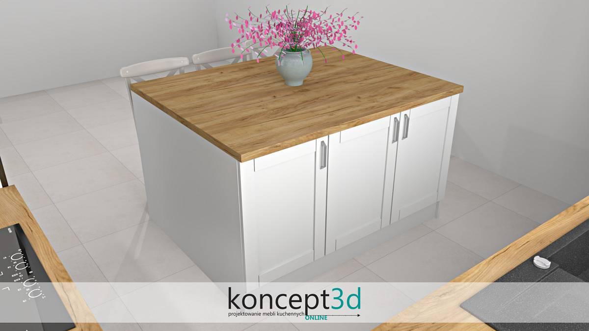 Kuchnia z wyspą w bieli i z drewnianym blatem | koncept3d projekty kuchni
