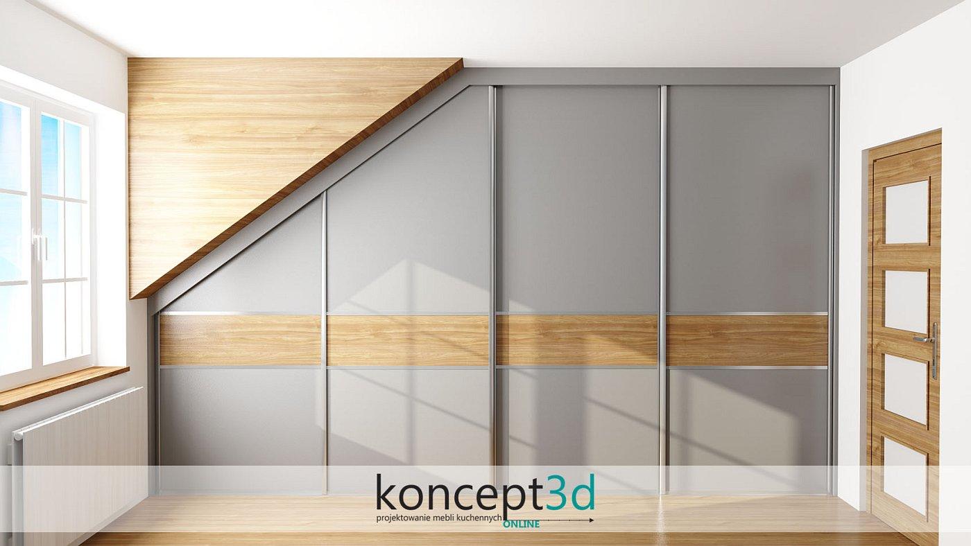 Szafa przesuwna w skosie to świetne zagospodarowanie trudnej przestrzeni. Drzwi szare z drewnianymi wstawkami | koncept3d projekty kuchni