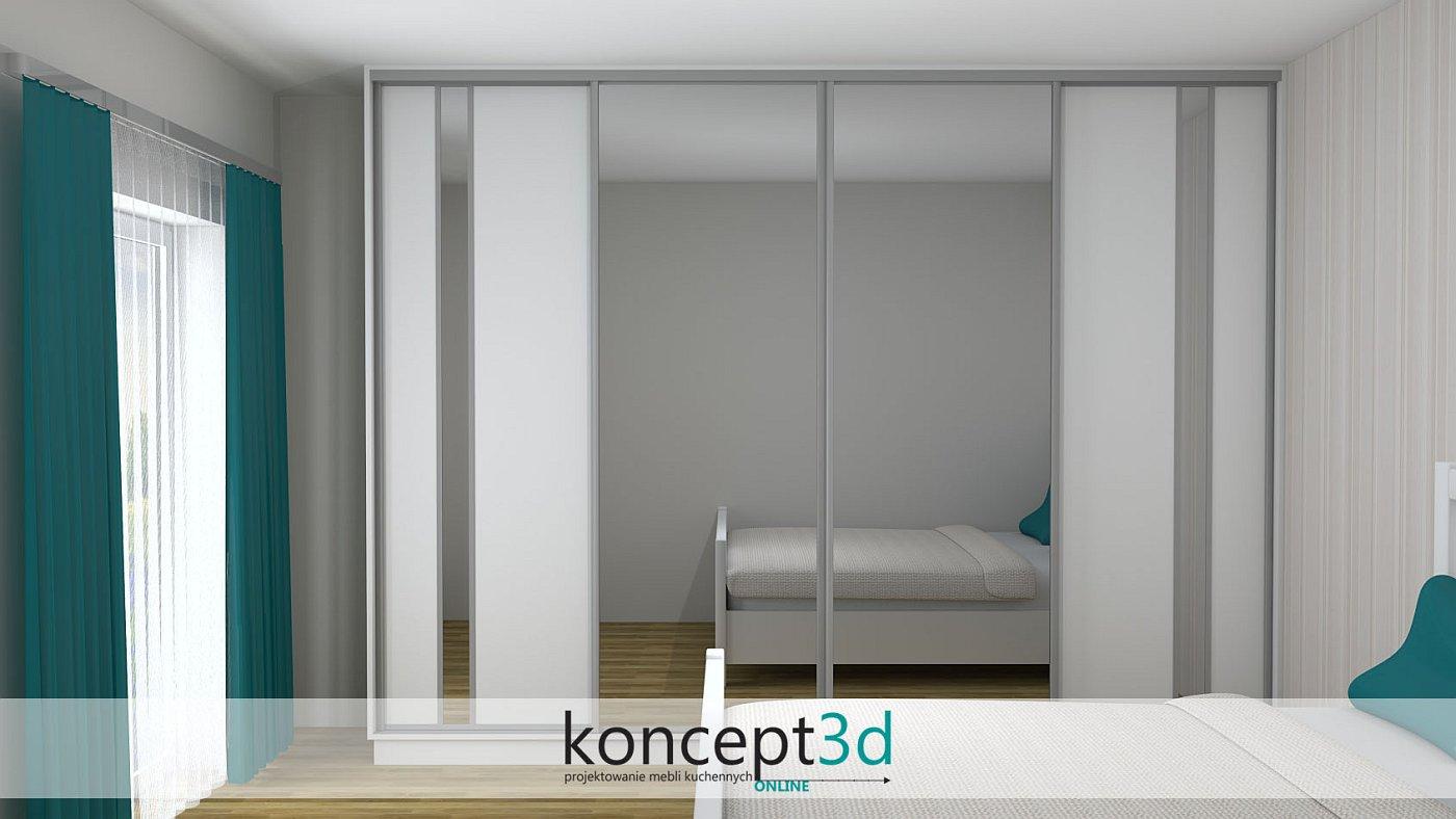 Szafa przesuwna w sypialni z ciekawymi drzwiami. Na środku dwa lustra i po boki lustra w formie wstawek | koncept3d projekty kuchni