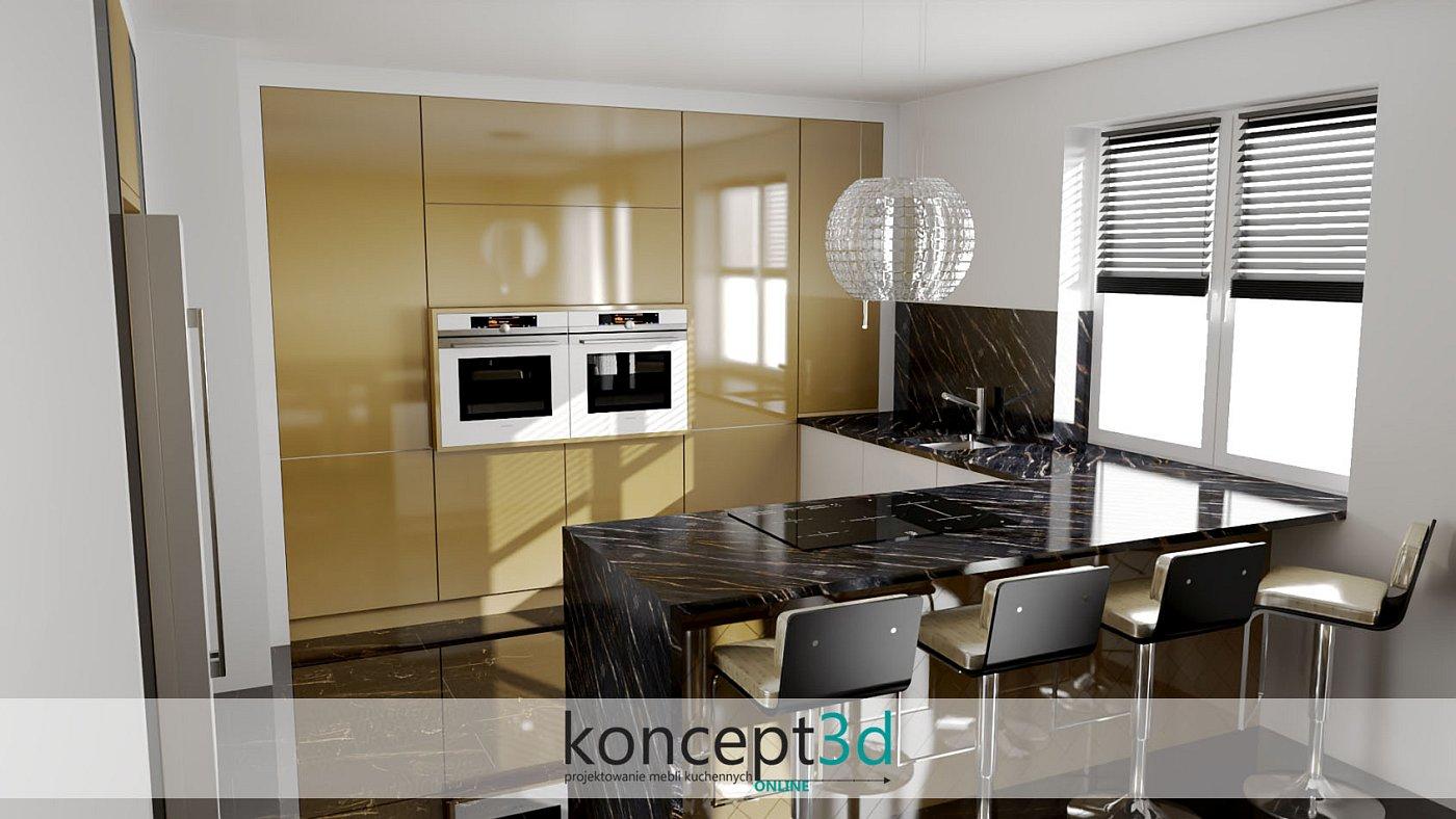 Zwróćmy uwagę na szklany pochłaniacz w złotej kuchni. Szkło zawsze w modzie
