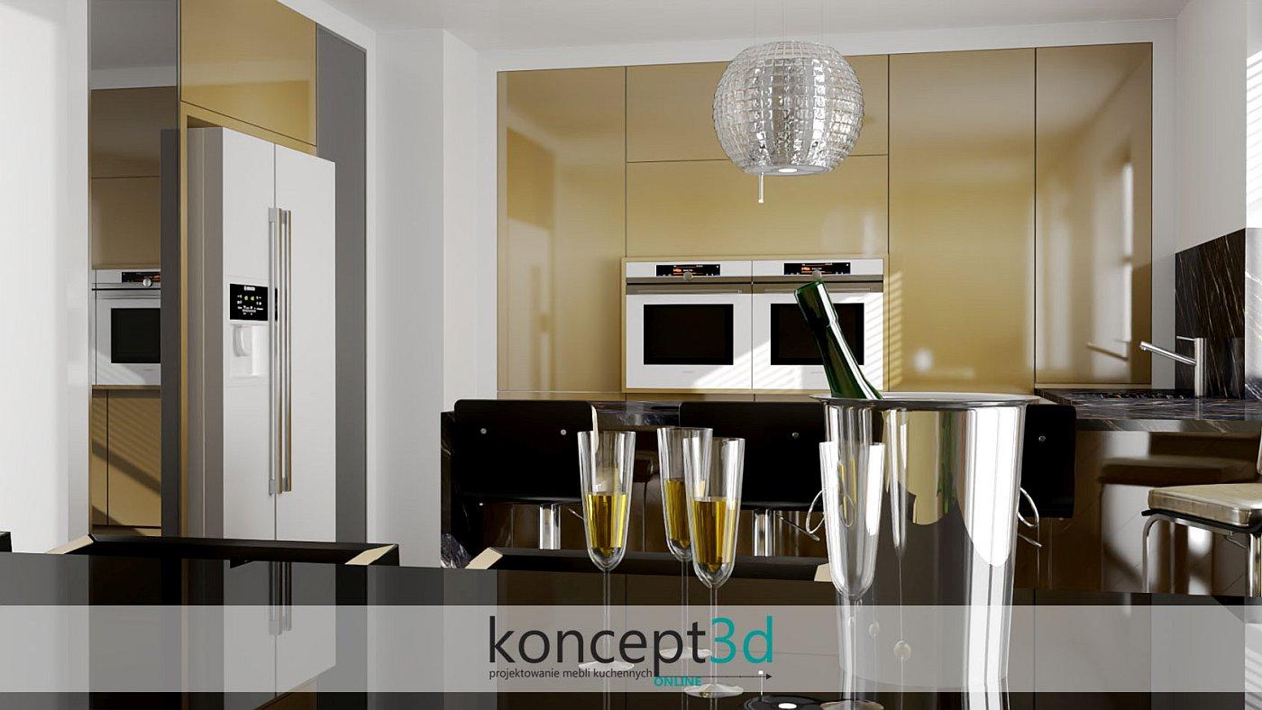 Pomysł na złote meble kuchenne z odrobiną czerni | aranżacje mebli koncept3d
