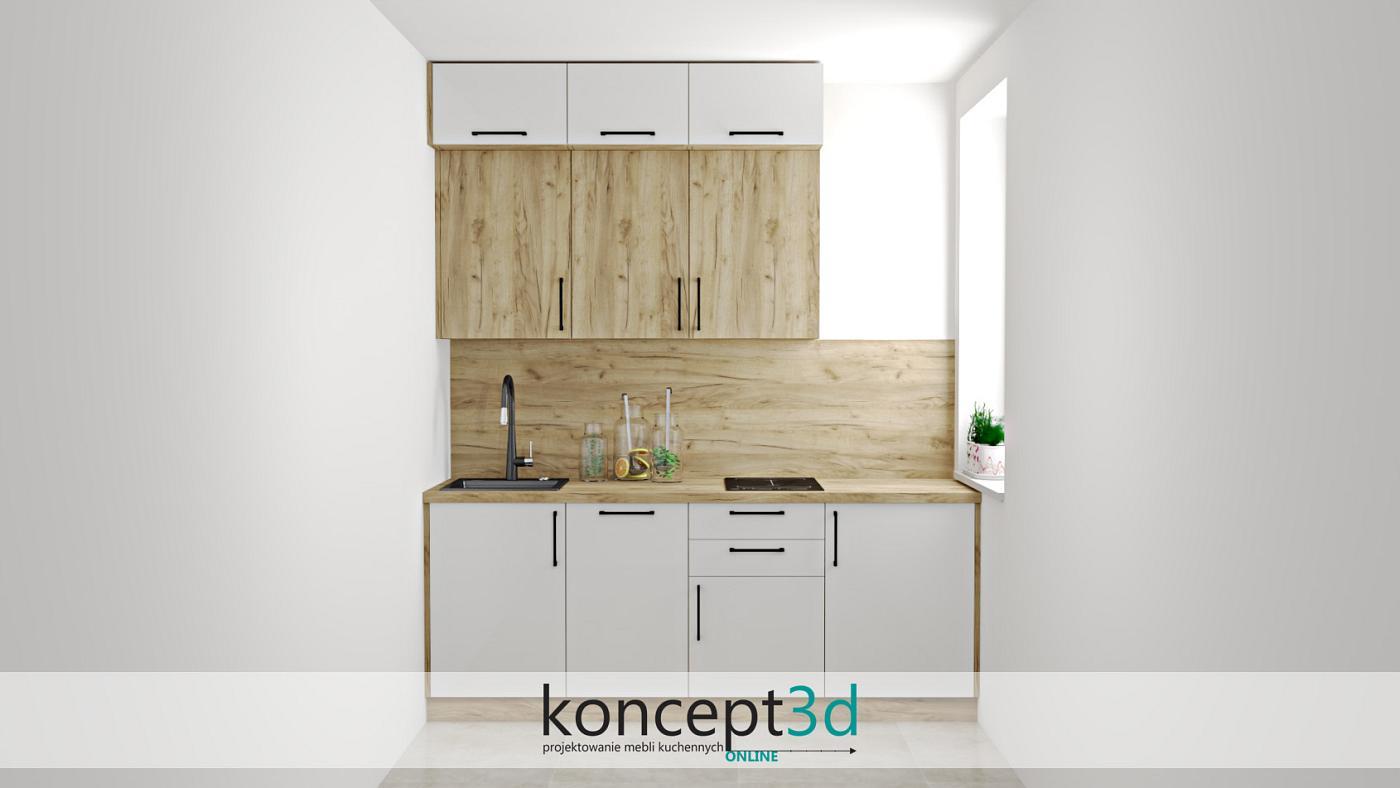 Projekt małego aneksu kuchennego w dekorze dąb Craft K003 | koncept3d kuchnie na wymiar
