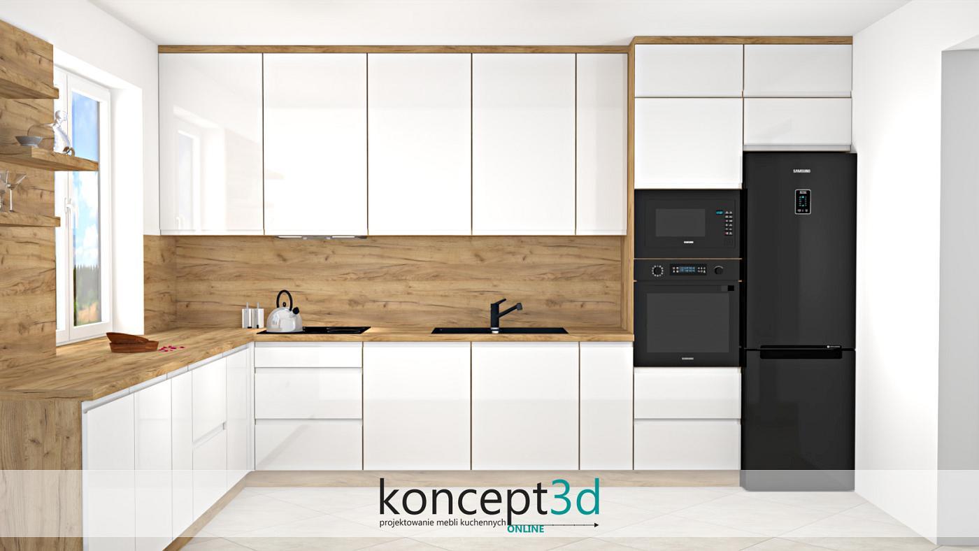 Aranżacja biało drewnianej kuchni na planie litery L z czarnym sprzętem AGD i drewnem na ścianie