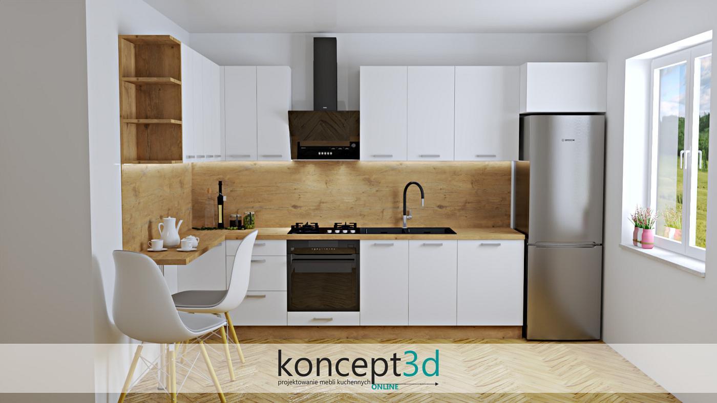 Projekt nowoczesnej kuchni w białym lakierze połączonym z laminatem dąb Lancelot