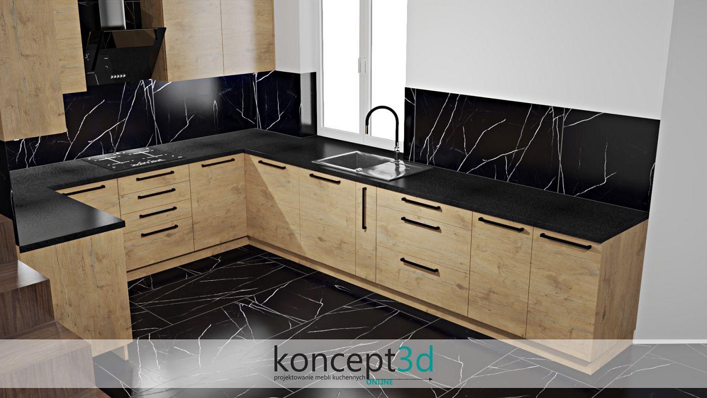 Czerń zawsze wygląda elegancko, szczególnie kiedy połączymy ją z odpowiednim drewnianym dekorem   koncept3d kuchnie na wymiar kraków