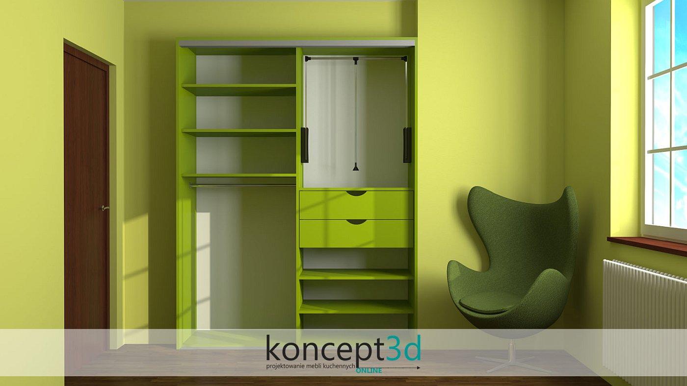 Aranżacja zielonej szafy przesuwnej z pantografem i drążkiem