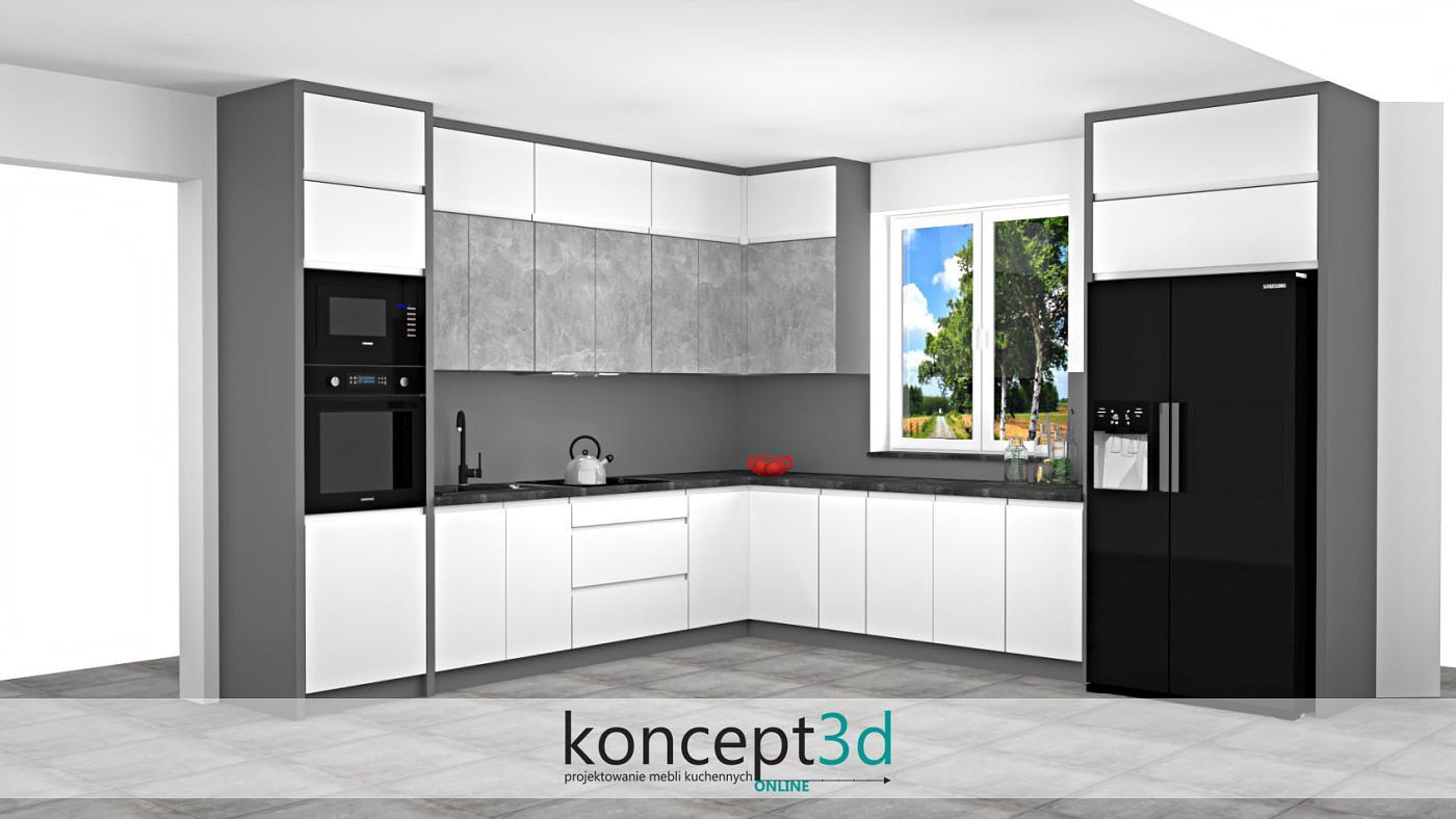 Meble kuchenne w kształcie litery L z ciemnym blatem i czarną lodówką SBS   koncept3d projekty kuchni biertowice