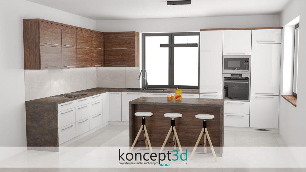 Lakierowana biała kuchnia z dodatkami drewna w postaci szafek górnych. Blat wykonany z brązowego kamienia | koncept3d projekty kuchni