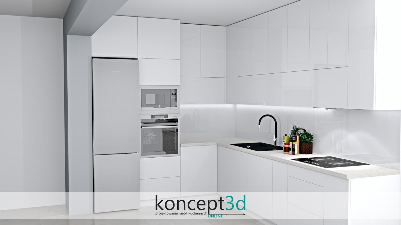 Aranżacja mebli kuchennych w literę L z wolnostojącą lodówką   koncept3d projekty kuchni